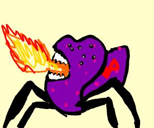 Purple monster breathing fire