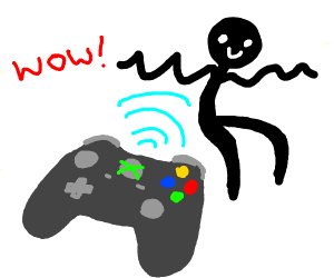 Man being controlled by xbox controller