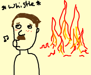 hitler looks away from the big fire