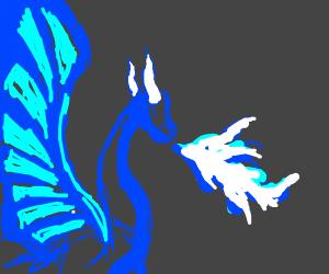 Blue dragon breathing blue fire