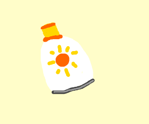 A bottle of sun lotion.