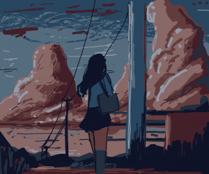 She stood beneath the powerlines at dawn
