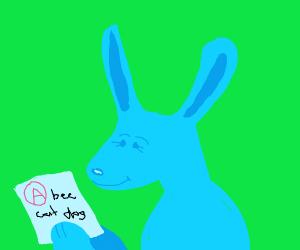 Rabbit got an A on their spelling test