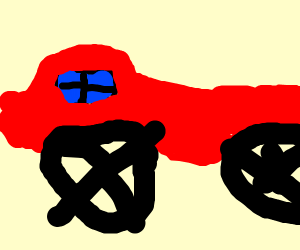 a humongous red car