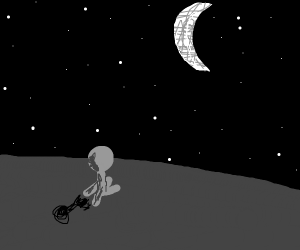 man watching the moon at night time
