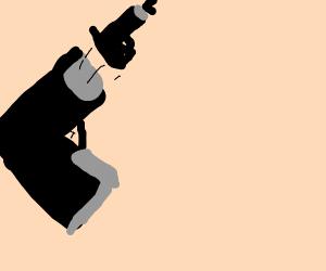Big gun shooting small gun