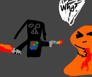 Darth Vader shoots orange monster with a gun