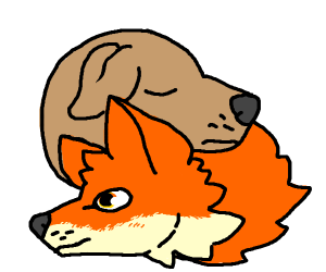 A dog and a fox