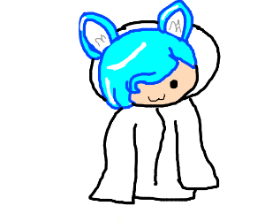 a Cute girl with light blue side hair + wolfy