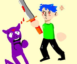 anime boy slays sad demon