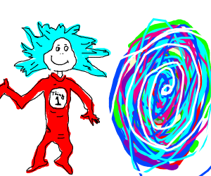 Thing 1 from Cat in the hat next to a portal