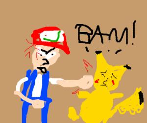 Ash punches Pikachu