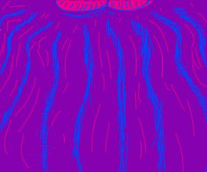 pink lines on purple bg, or thanos' chin.