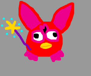 Red furby with a magic wand