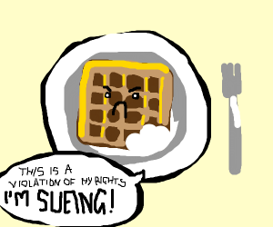 Half Eaten Waffle wants to sue the Biter
