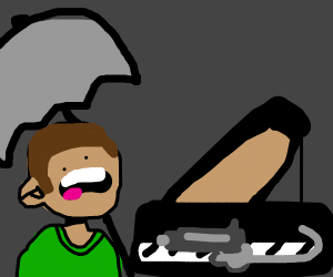 Guy with umbrella about to die from piano