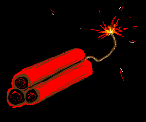 Dynamite with a lit fuse