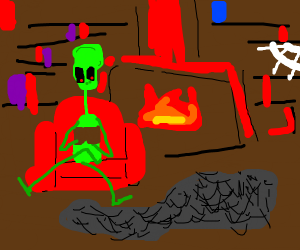 An alien reading a book