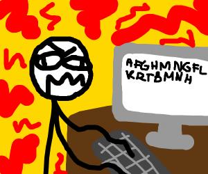 Stick figure spamming the desktop keyboard