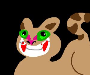 creepy brown happy cat