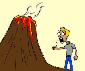 Man screaming at vulcano