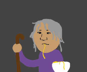 chinese guy with walking stick eats noodles