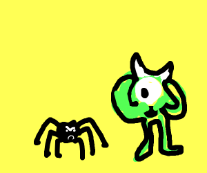 Green cyclops sees spider.