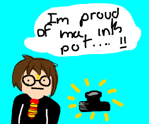Harry Potter is proud of his ink pot