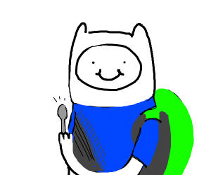 Finn The Human holding a spoon