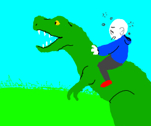 Tired man in a blue hood riding T-Rex