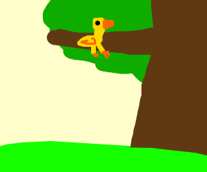 Yellow bird sitting in tree