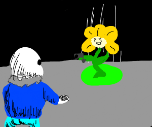 Sans scared of Flowey who's armed with a gun
