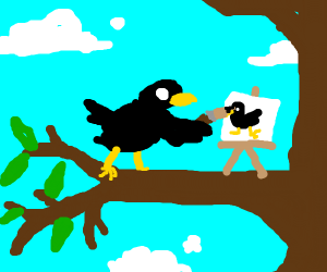 Crow painting a crow picture