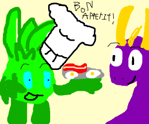 Green man Cooks Spyro eggs and bacon