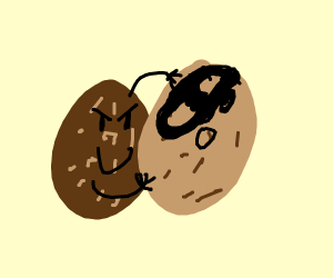 Potato wrestrel tries to peal its mask