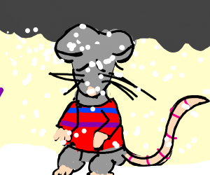 cold Sad mouse wearing sweater in snow