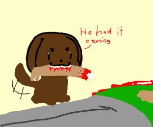 dog eats guy