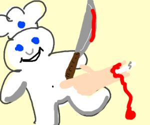 The Pillsbury Doughboy cuts a man's arm off.