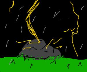 a rock gets struck by lightning