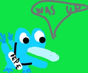 pepe the frog saying 'wassup?'