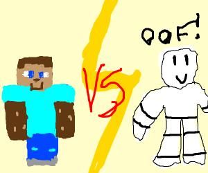 Minecraft dude slays Roblox dude