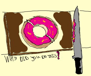slicing a donut in half with a knife