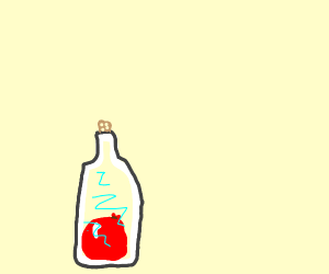 A small balloon in a glass bottle
