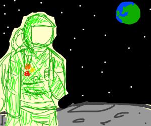 Green cosmonaut on the moon