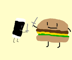 Sushi Sword-Fighting With Cheeseburgers