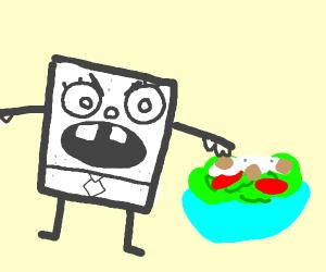 doodlebob screams at salad