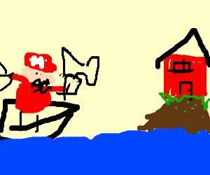 Mario on a boat going to fix a house