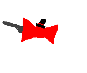 bowtie with a tophat and a gun