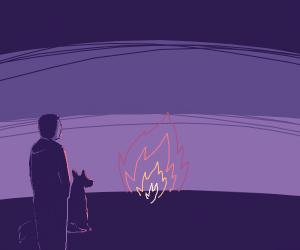 Man stands near fire with a doggo