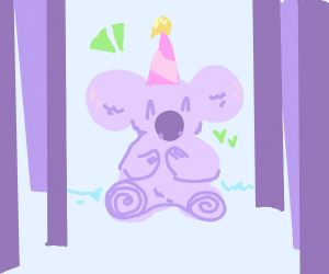 Koala got a party hat!